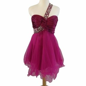 Ruched Bodice and Beading Single Strap Dress